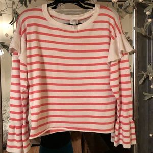 Cupio White Ivory Coral Striped Ruffle Sweater Med